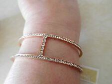 Nwt Michael Kors Heritage Maritime Rose Gold Tone Cuff Bracelet/ Pave Stones