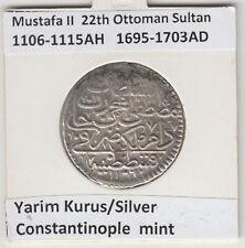 More details for ottoman empire yarim kurush kostantiniye mustafa ii 1106-15ah/1695-1703ad km#116
