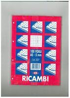 RICAMBIO QUADRETTI 5mm. FORMATO A5 DA 100FOGLI, 10 PEZZI (10RICAMBI)