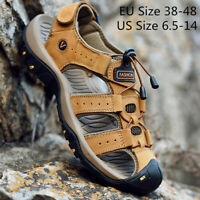 Men's Hiking Water Shoes Leather Sandals Outdoor Sports Summer Casual  New Size