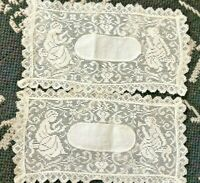 "Lot of 2 Vtg Antique Ecru ANGELS CHERUBS DOILIES Scarf Hand Made 6 X 11"" Doily"