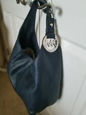 Michael Kors  Fulton Slouchy Pebble Leather Large Size Hobo Bag Navy Blue