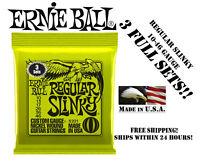 **3 SETS ERNIE BALL 2221 REGULAR SLINKY ELECTRIC GUITAR STRINGS 10-46**