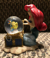 Vintage DISNEY Little Mermaid Mini Treasure Chest Snow Globe * Flounder * Ariel