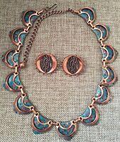 Vintage Renoir Matisse Copper Enamel Necklace and Earrings ~Green Red Black~