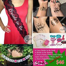 Hens Night Set Lace Bride to Be Sash Banner Dare Cards Game 31 Tatttoos Prop Set