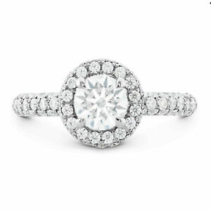 1.65 Ct Round Cut Diamond Engagement Rings For Women 14K White Gold Size N O P Q