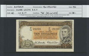 Australia:1961 10/- Coombs/Wilson QEII R-17 aEF - Mis-Cut Note