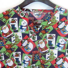Comfy Cotton Christmas Nursery Scrubs Size XXL Navy Blue 100% Cotton 2 Pockets