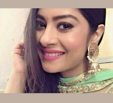 Ethnic Indian Bollywood Fashion Bali Gold Tone Pearl Jewelry Hoop Jhumka Earring