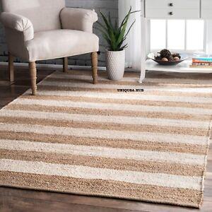 Rug 100% Natural Jute loop rug braided handmade rustic look area carpet rag rug