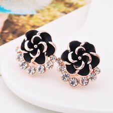 2018 Flower Peony Women Girls Crystal Stud Earrings Black Camellia Simple