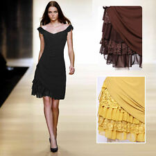 V-Neck Synthetic Dresses for Women with Cap Sleeve