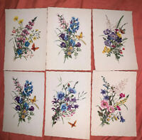 Lot 6 Vintage West Germany Butterflies and Flowers Postcards Full Color Exc.