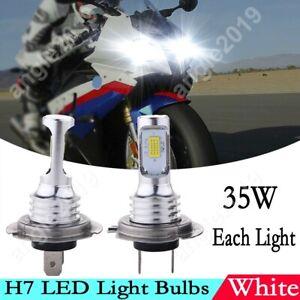 2x White 6000K H7 LED Bulb Front Headlight Upgrade Kit For BMW S1000RR 2009-2018