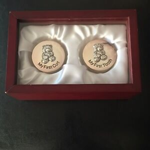 Stephan Baby Silver Plated Keepsake Gift Set Wooden Box First Tooth/Curl Holder