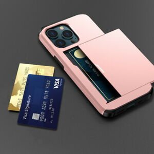 Shockproof Card Slot Holder Hard Case For iPhone 13 12 Pro Max 11 XR X 8 7 Cover