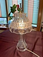 Vintage Clear Cut & Frosted Band Crystal Glass Boudoir Parlor Table Lamp 17 inch