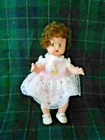CHARMING SMALL VINYL DOLL WITH CUTE PAINTED EYES, GOOD CONDITION, CIRCA1950
