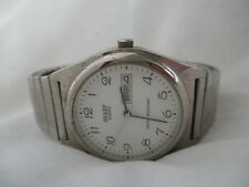 Sharp Watch Silver Toned Expansion Band Day Date Indicator WR Elegant WORKING!