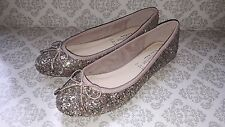 NEW Accessorize Bronze Glittery Ballerina Flat Shoes - Size 6.5 - Euro 40