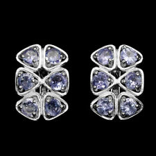 Sterling Silver 925 Genuine Natural Blue Violet Tanzanite Cluster Earrings