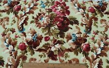 "Antique French c1870 Hand Blocked Home Floral Sample Cotton Fabric~L-19""X W-31"""