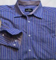 Bugatchi Uomo Men's Medium Long Sleeve Button-Front Shirt Floral Cuffs Stripes