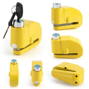 Yellow Anti theft Motorcycle Motorbike Bike Disc Lock Alarm + Keys Security