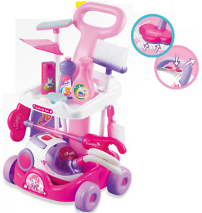 Childrens PINK Cleaning Trolley Cart Role Play Toy Set. Vacuum Cleaner Works 927