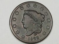 Better-Grade 1829 US Coronet Head Large Cent Coin (Large Letters).  #165
