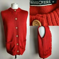 Vintage WOOLOVERS Women's Red Cardigan Wooden Button Sleevless Gilet Wool M 12