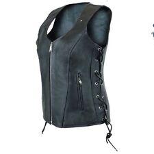 ladies womens solid Premium biker motorcycle leather vest black concealed carry