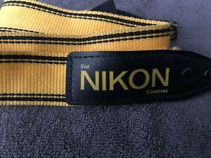 Vintage NIKON CAMERA NECK STRAP yellow, black, NIkon strap