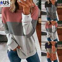 Women Casual Long Sleeve Colorblock T-Shirt Blouse Loose Pullover Tunic Tee Tops