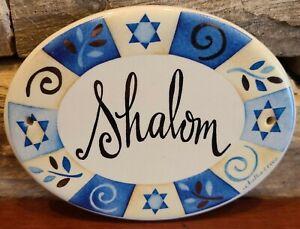 "Shalom Plaque Blue Ceramic Hanging Sign 5.5""x4"" Star of David challis & roos"
