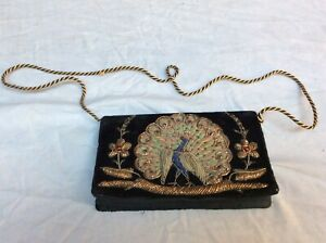 Vintage Peacock Clutch Hand Bag