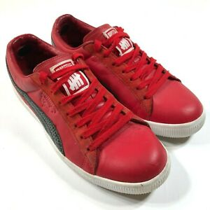 Puma Clyde Shoes Sneakers Mens 8.5 Red Undefeated Striped Casual Round Toe