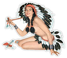 "Pin-up art retro sexy pin up pinup native girl smoking sticker decal 5"" x 4"""
