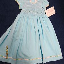 Will'beth dress size 6 aqua blue w/smocking. new w/tags