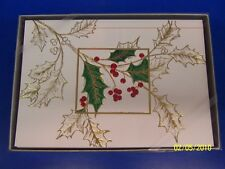 Holly Leaves Winter Christmas Holiday Party Gift Boxed Greeting Cards