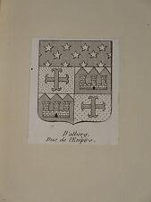 Gravure BLASON DUC DALBERG WORMS MAINZ MAYENCE NAPOLEON HERALDIQUE EMPIRE 1810