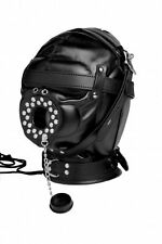 DEPRIVATION MASK blindfold eye MOUTH GAG PLUG hole HEAD HOOD leather black out