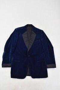 """Meyer & Mortimer Vintage Bespoke Blue Velvet Smoking Dinner Jacket 1970s 42"""""""