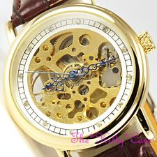 Mechanical Skeleton Crystals Steampunk Gold & Brown Leather Wind-Up Unisex Watch