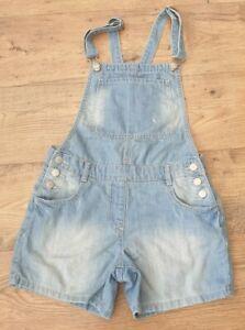 Girls denim dungaree shorts by NEXT, size 13 years