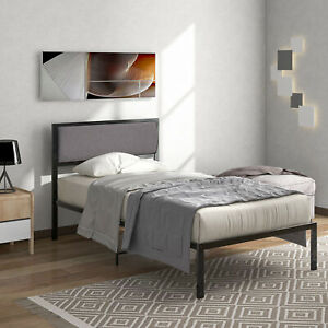 New Solid 3Ft Singel Metal Bed Frame With Modren Bedstead Black For Adults Kids