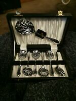 Vintage Boxed Set Spoons 6 + server chrome plate on nickel silver