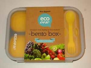 Eco One Bento Lunch Box Container 3 Compartments with Spoon Fork BPA Free