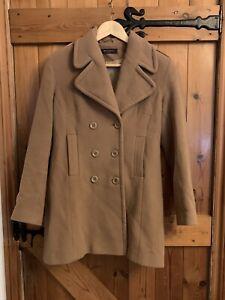 Mila Paoli Tan Camel Military Style Pea Coat Jacket 12